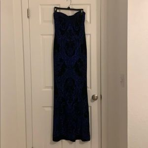 Black and blue long strapless dress